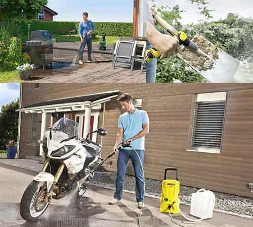 Ngoài rửa xe, máy xịt nước mini được ứng dụng vào nhiều công việc gia đình