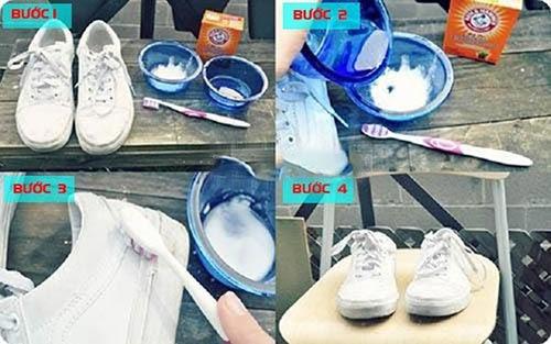 vệ sinh giày bằng banking soda